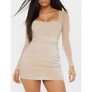 Pretty Little Things nude mesh long sleeve dress